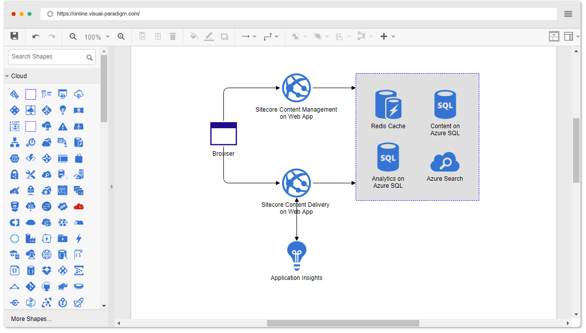 Online azure diagram tool for How to make a blueprint online