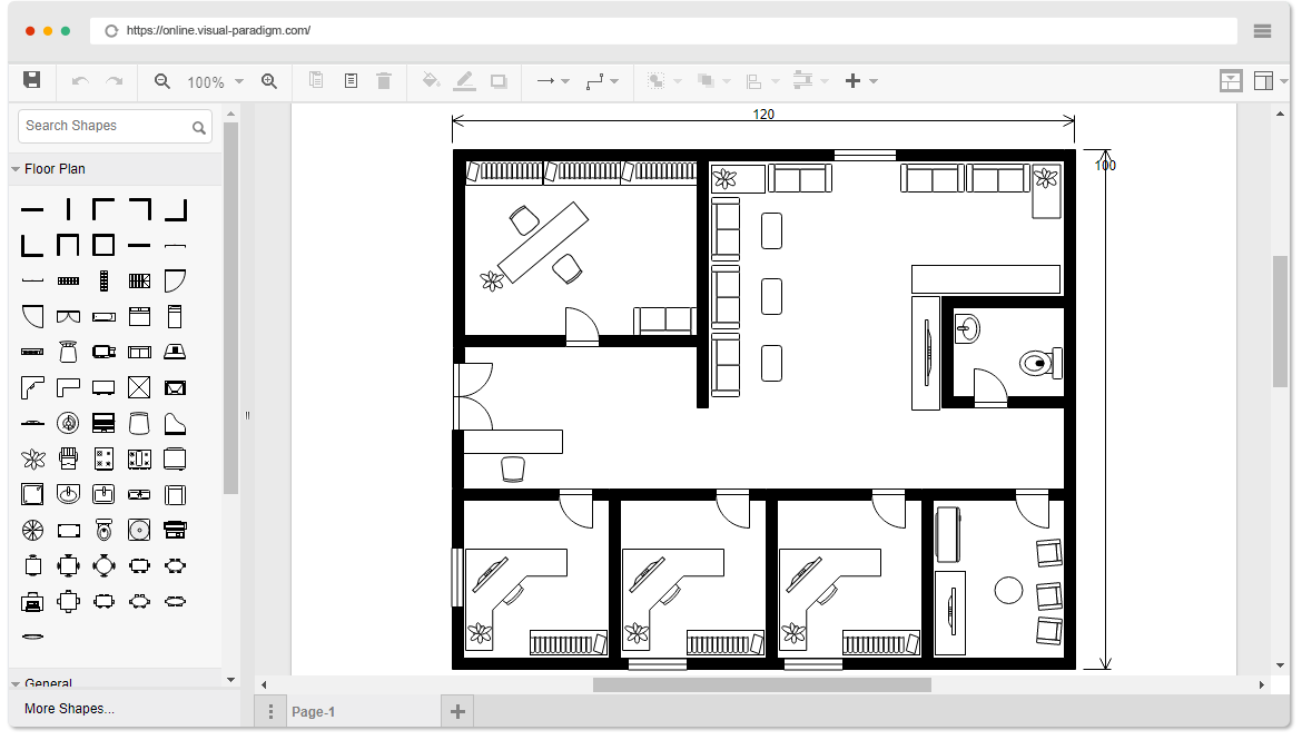 Online floor plan designer for Online office layout planner