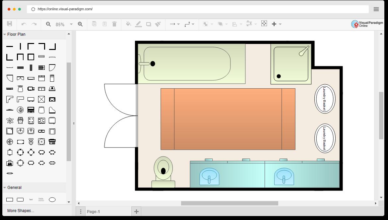 Modelo de plano de chão de banheiro grátis