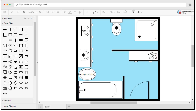 free bathroom floor plan template rh online visual paradigm com