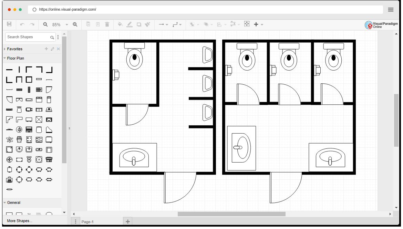 free restroom floor plan template