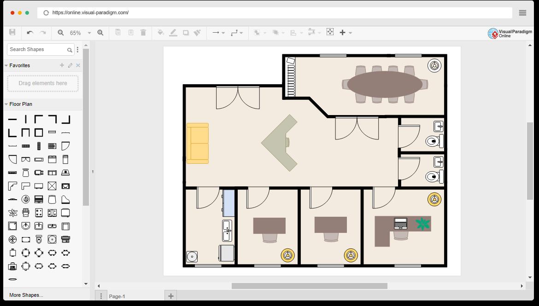 Modelo de plano de piso de escritório