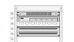 Rack diagram example: Simple rack diagram (Drawn with the online Rack Diagram editor)