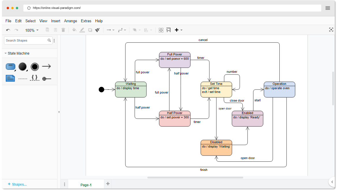 Online State Machine Diagram Tool