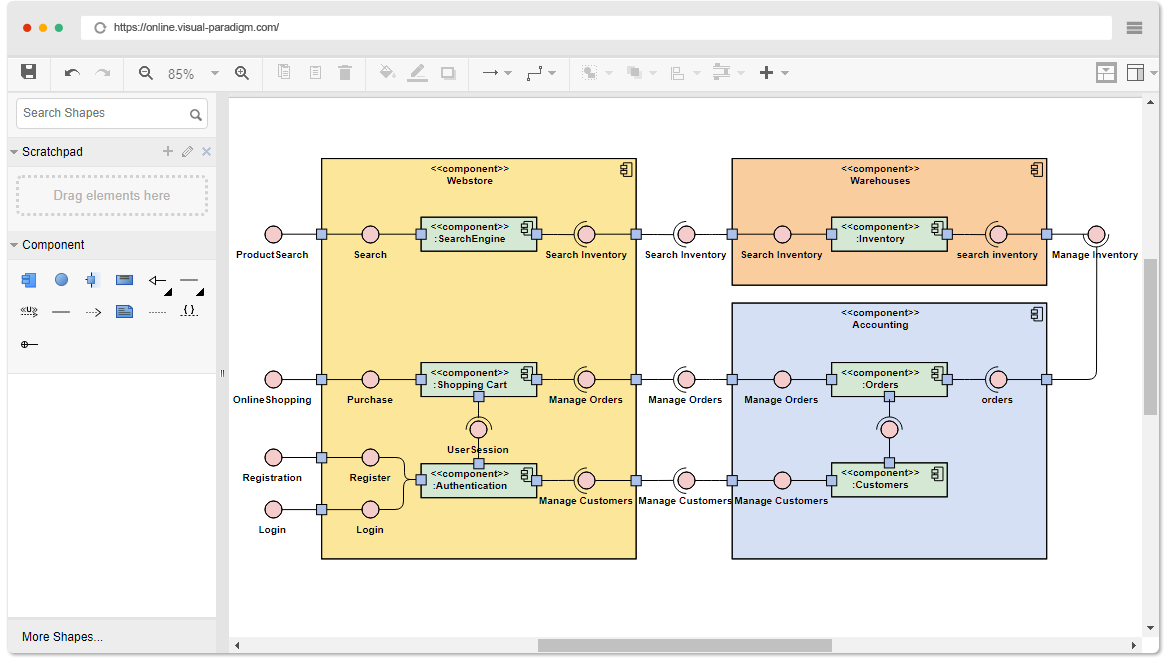Online uml diagram tool component diagram example webstore ccuart Image collections