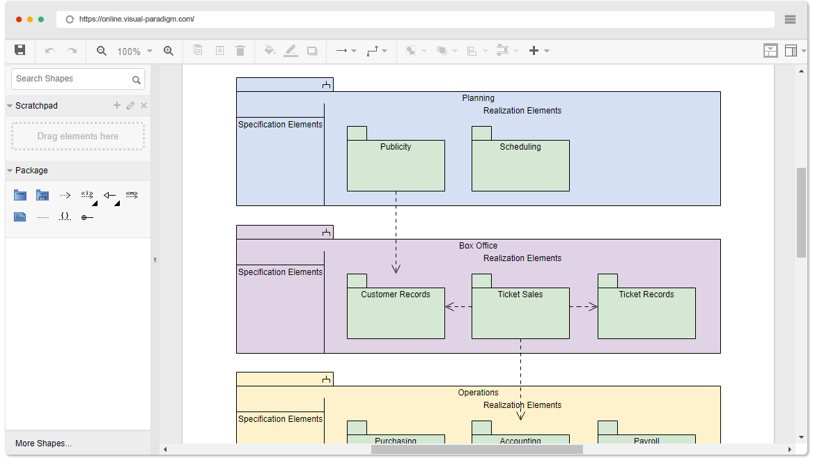 Online uml diagram tool package diagram example sub systems and packages ccuart Image collections