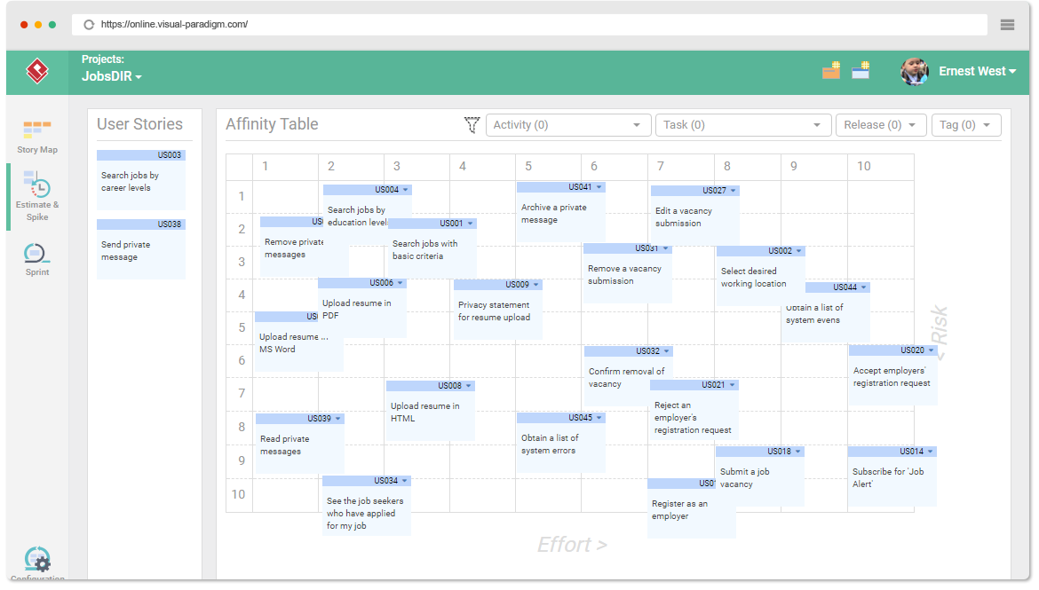Online User Story Mapping Tool on