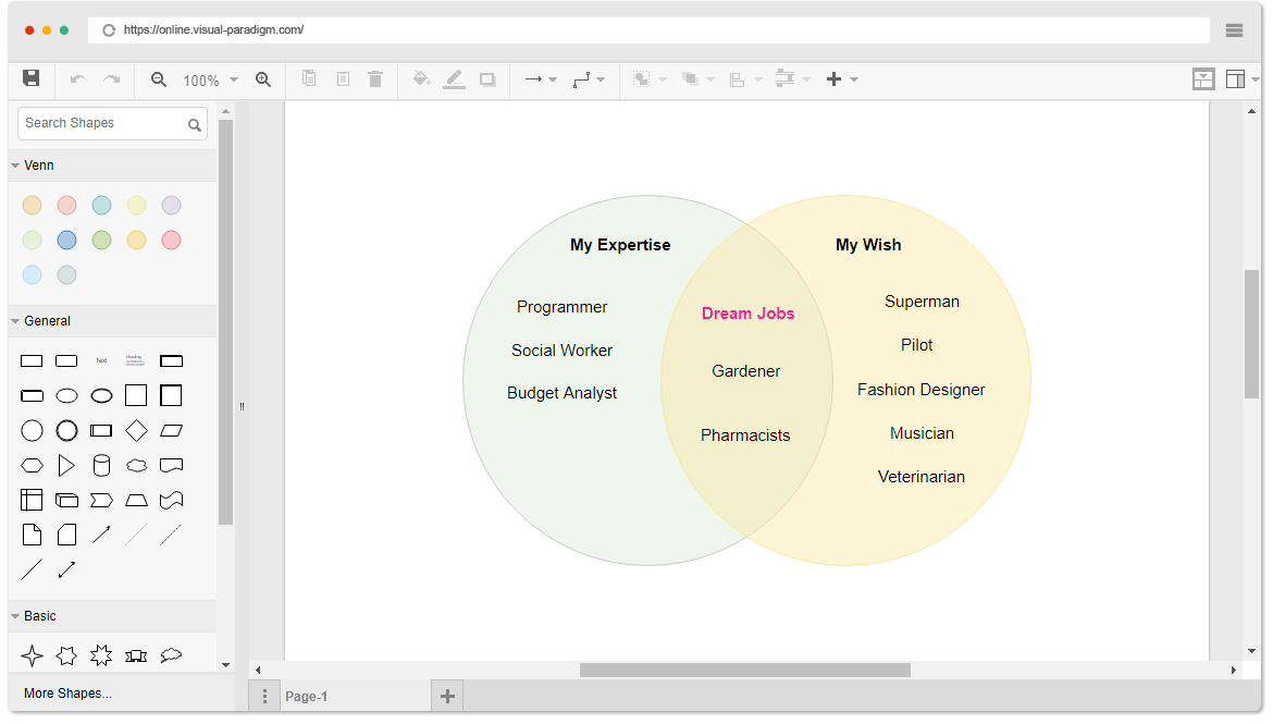 Online venn diagram tool venn diagram example dream jobs ccuart Image collections