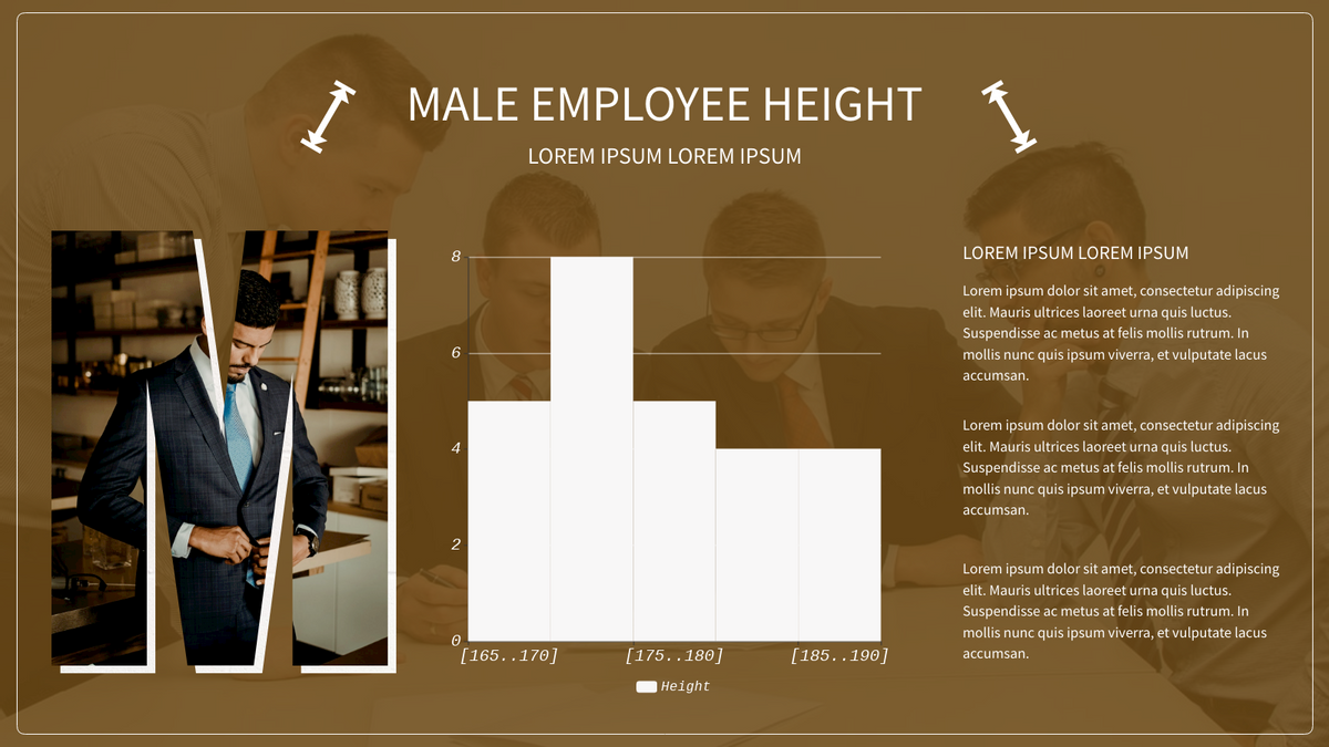 Histogram template: Male Employee Height Histogram (Created by Chart's Histogram maker)