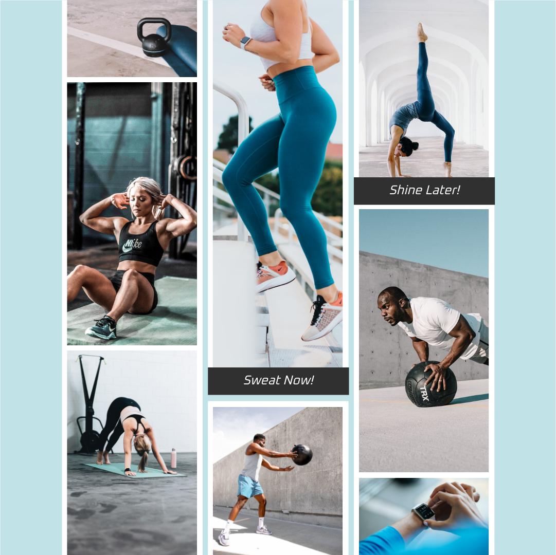 Instagram Post template: Sweat Now Fitness Instagram Post (Created by Collage's Instagram Post maker)
