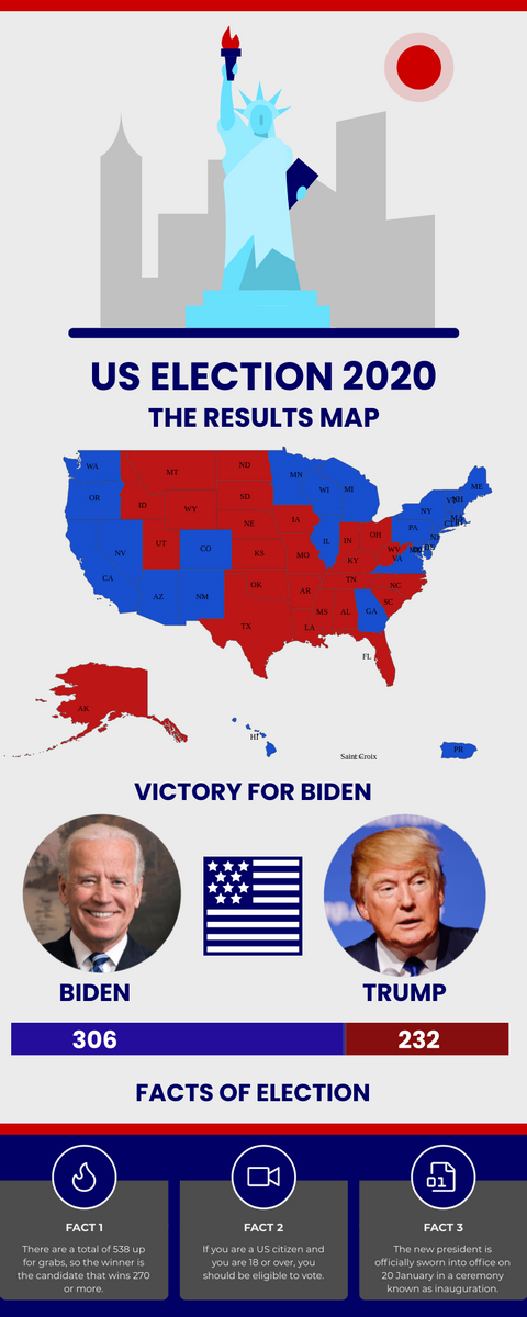 Infographic template: US Election 2020 Infographic (Created by InfoART's Infographic maker)
