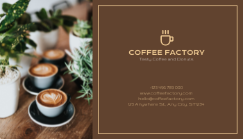 Business Card template: Brown Coffee Shop Logo Business Card (Created by InfoART's Business Card maker)