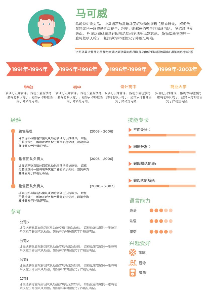 履历表 template: 时间线简历 (Created by InfoART's 履历表 maker)