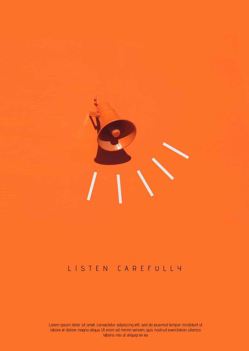 Poster template: Listening To Announcement Poster (Created by InfoART's Poster maker)