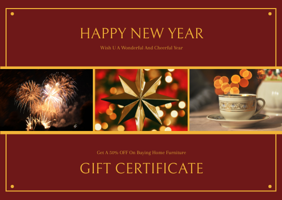 Gift Card template: Red And Gold New Year Celebration Gift Card (Created by InfoART's Gift Card maker)