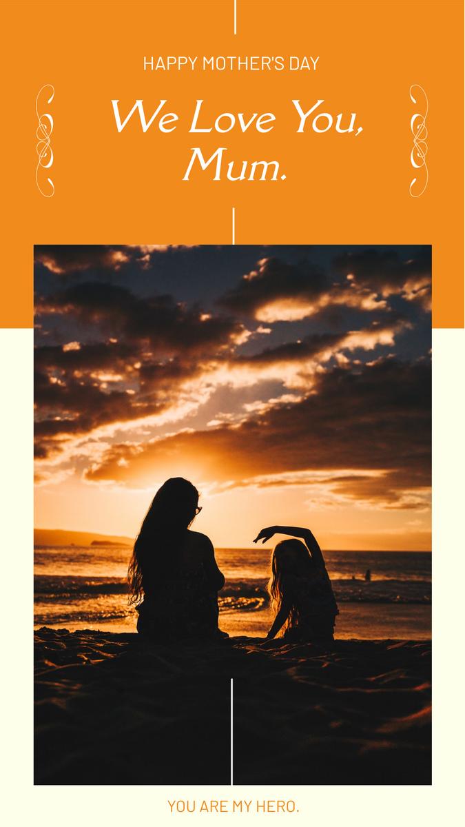 Instagram Story template: Orange Sunset Mother's Day Instagram Story (Created by InfoART's Instagram Story maker)