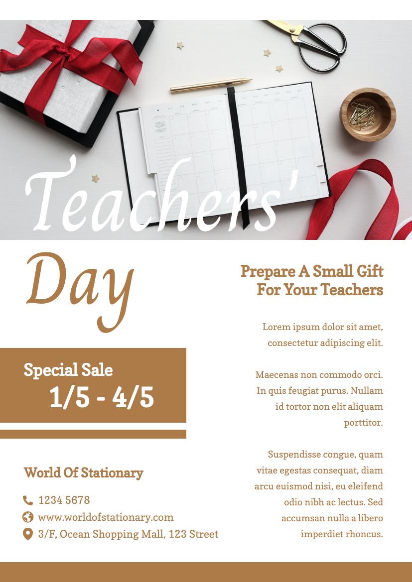 Flyer template: Teachers' Day Special Sale Flyer (Created by InfoART's Flyer maker)