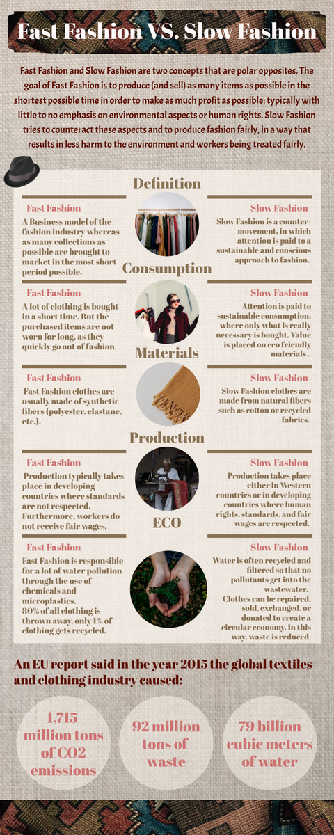 Infographic template: Fast Fashion VS. Slow Fashion Infographic (Created by InfoART's Infographic maker)