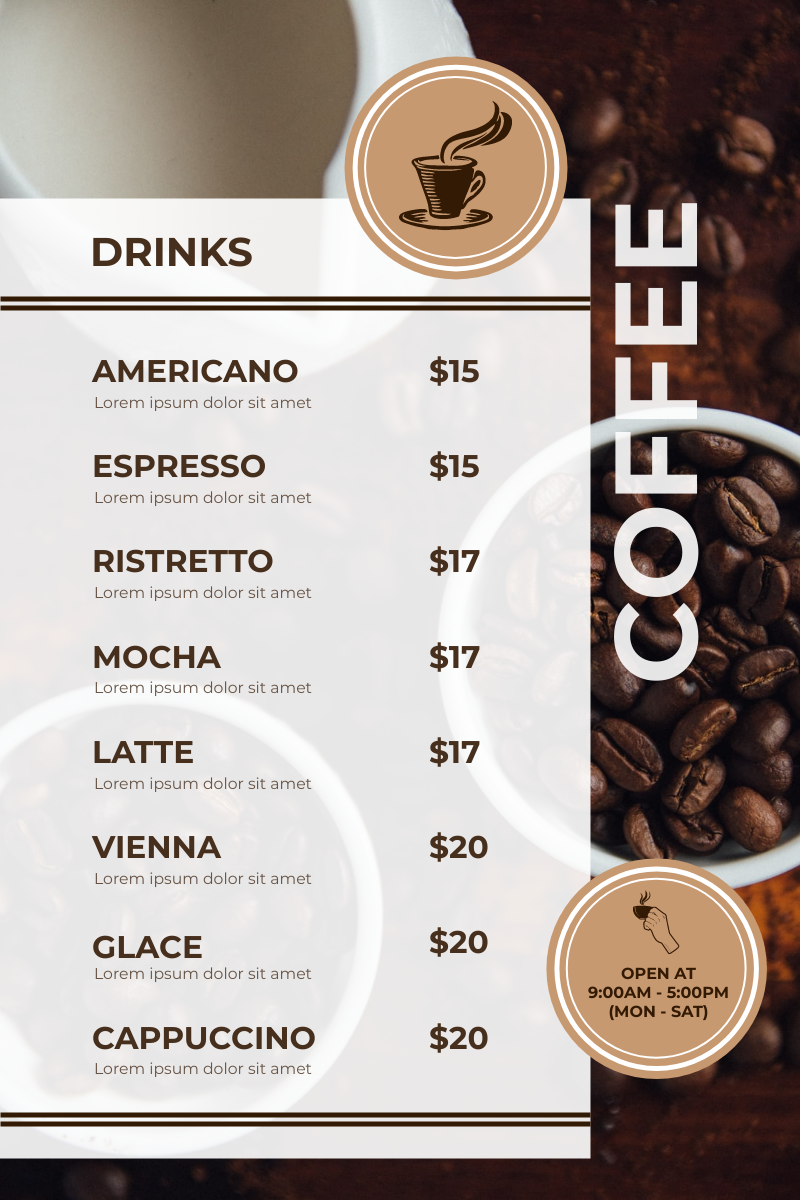 Menu template: Brown Coffee Bean Background Café Menu (Created by InfoART's Menu maker)