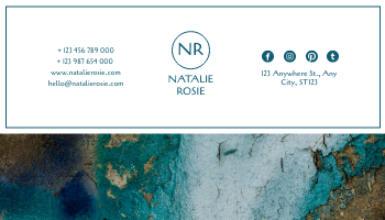 Business Card template: Blue And Gold Painting Texture Business Card (Created by InfoART's Business Card maker)