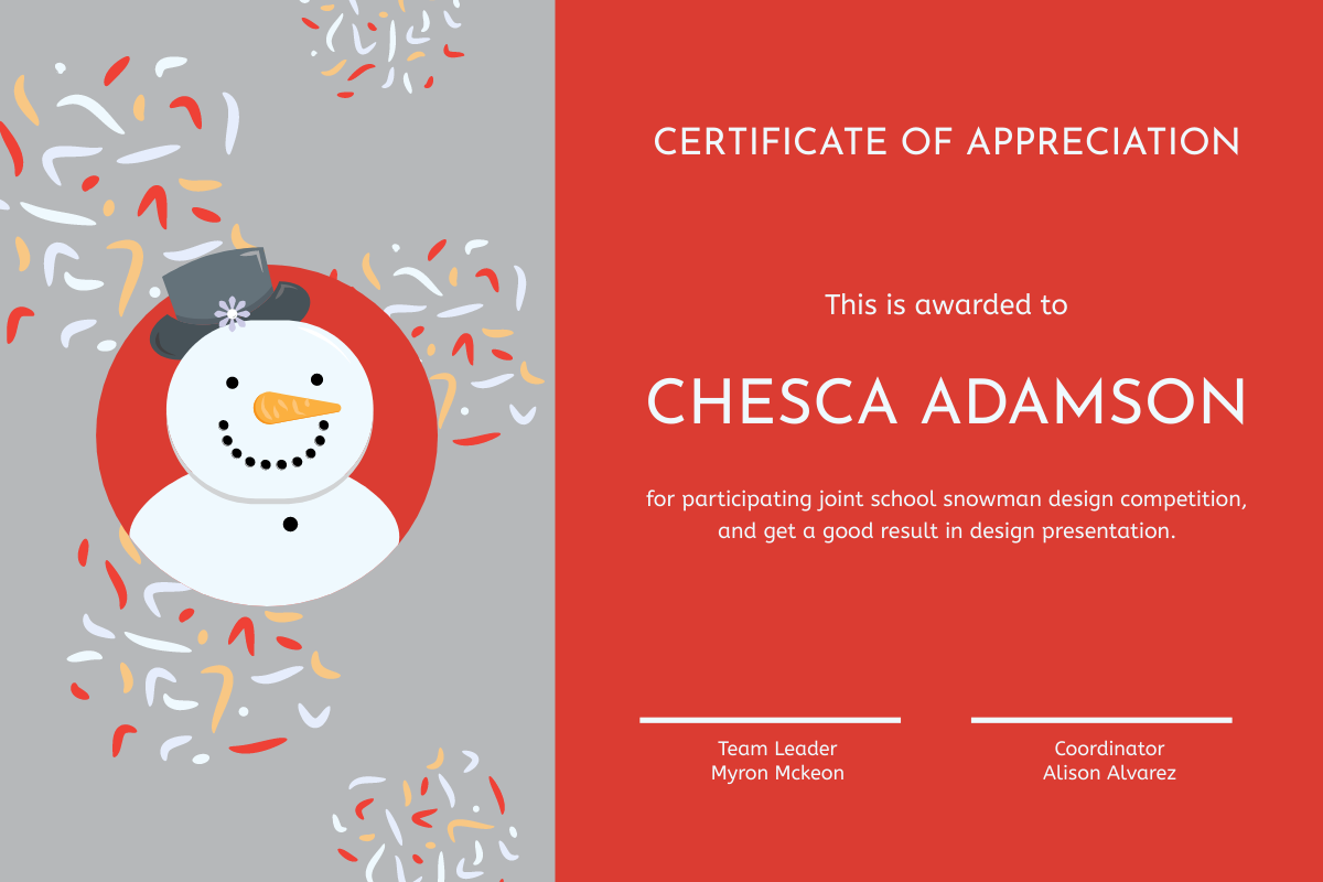 Certificate template: Grey And Red Snowman Cartoon Certificate (Created by InfoART's Certificate maker)
