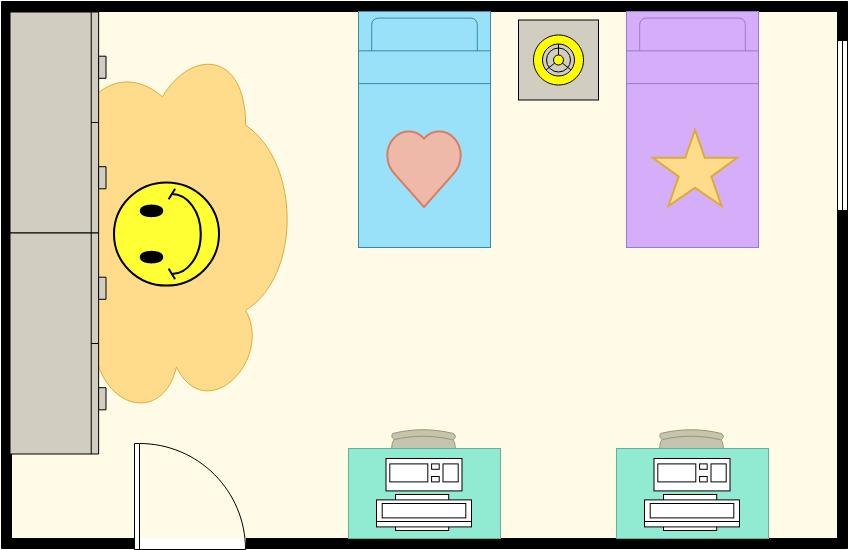 Bedroom Floor Plan template: Kids Bedroom (Created by Diagrams's Bedroom Floor Plan maker)