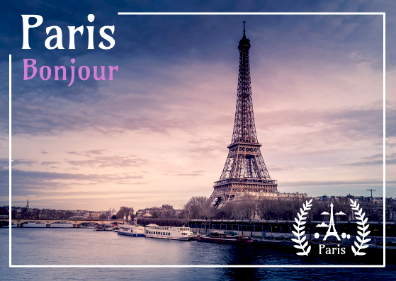 Post Card template: Paris Bonjour Postcard (Created by InfoART's Post Card marker)