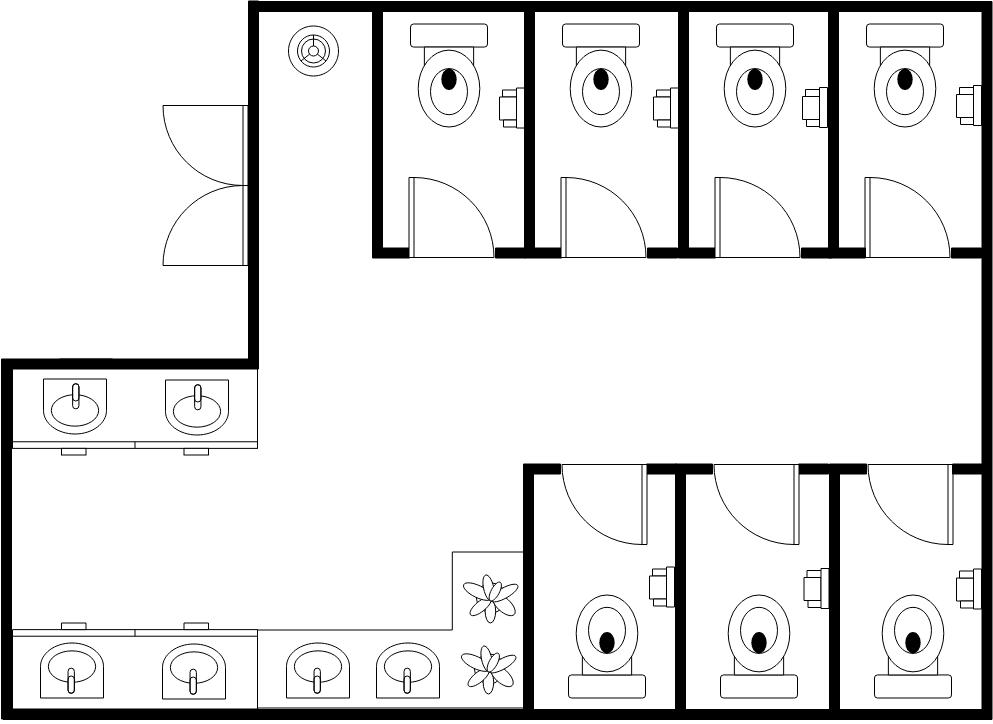 Restroom Floor Plan template: Larger Public Restrooms (Created by Diagrams's Restroom Floor Plan maker)