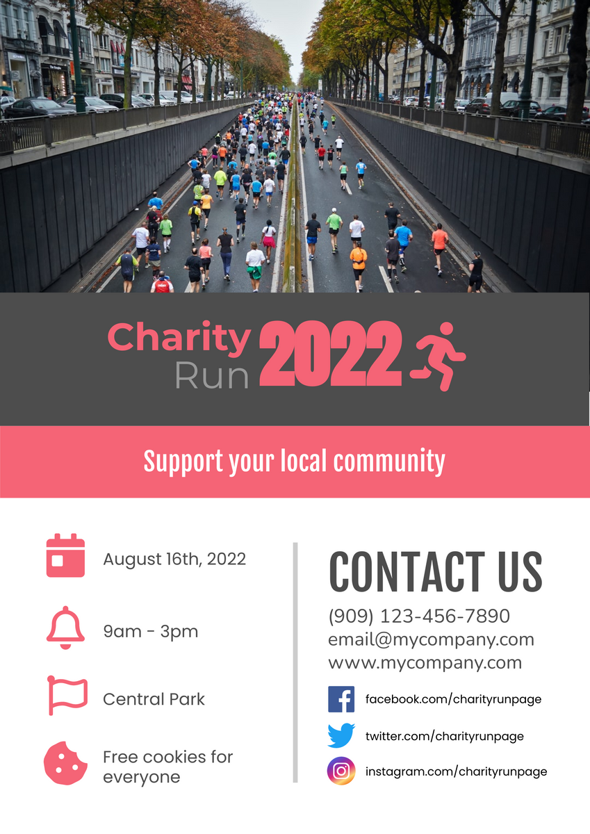 Poster template: Charity Run Poster (Created by InfoART's Poster maker)