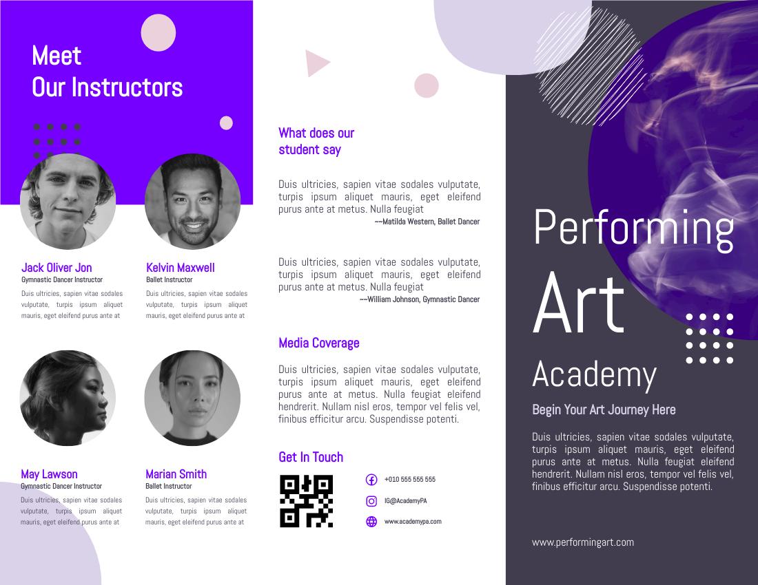 Brochure template: Professional Performing Art Brochure (Created by InfoART's Brochure maker)