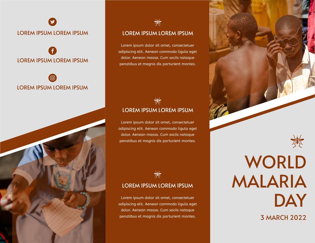 Brochure template: Brown Polygon World Malaria Day Brochure (Created by InfoART's Brochure maker)