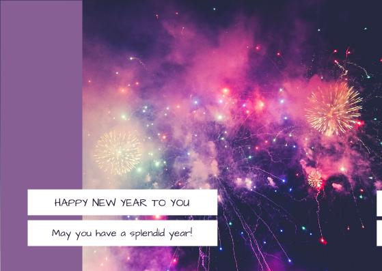Postcard template: Purple Galaxy New Year Fireworks Postcard (Created by InfoART's Postcard maker)
