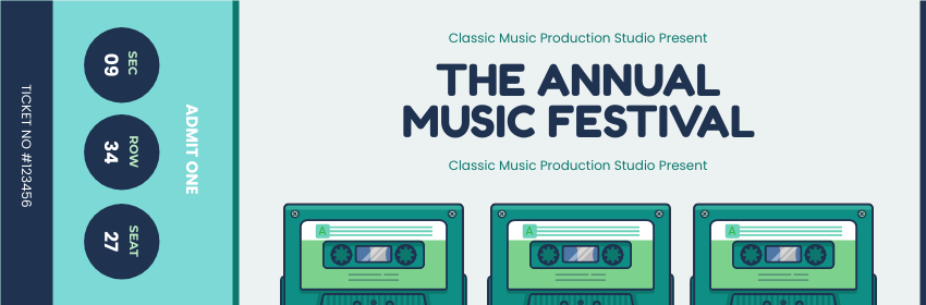 Ticket template: The Annual Music Festival Ticket (Created by InfoART's Ticket maker)