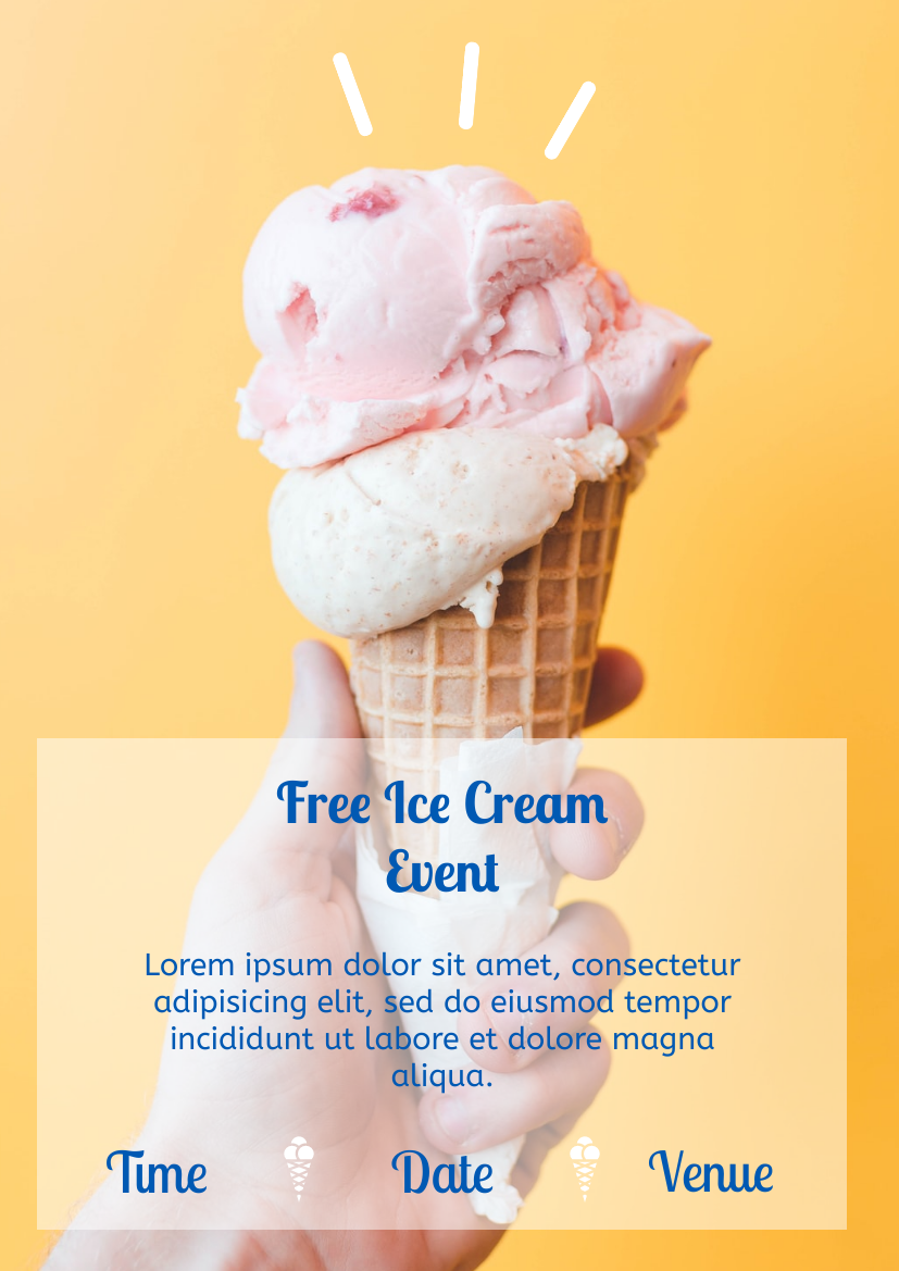 Flyer template: Yellow Ice Cream Flyer (Created by InfoART's Flyer maker)