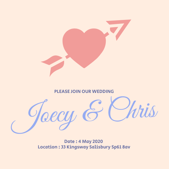 Invitation template: Joecy Chris Wedding Invitation (Created by InfoART's Invitation marker)