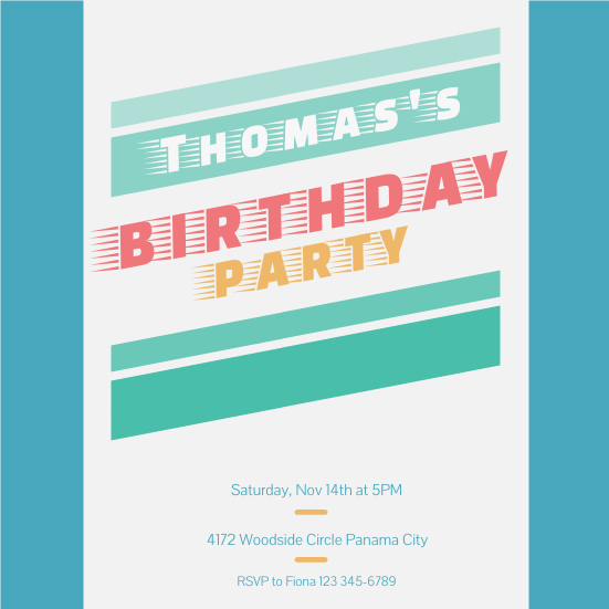 Invitation template: Thomas's Birthday Party (Created by InfoART's Invitation marker)