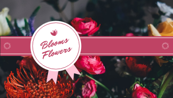 Business Card template: Pink Flowers Photo Badge Flower Shop Business Card (Created by InfoART's Business Card maker)