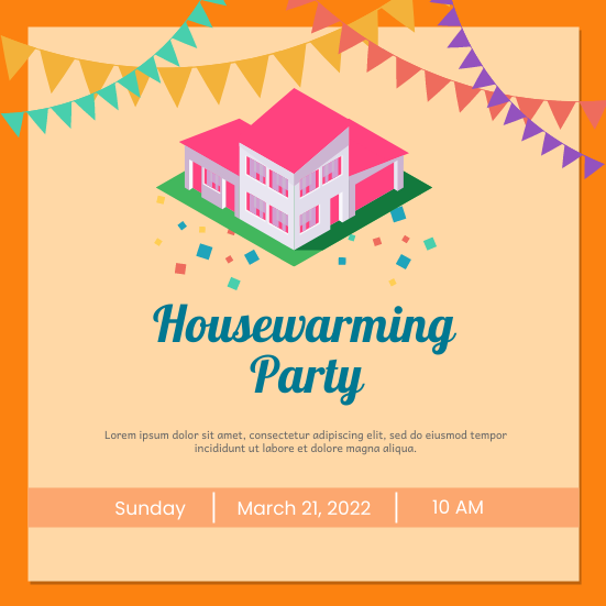 Invitation template: Housewarming Party (Created by InfoART's Invitation marker)