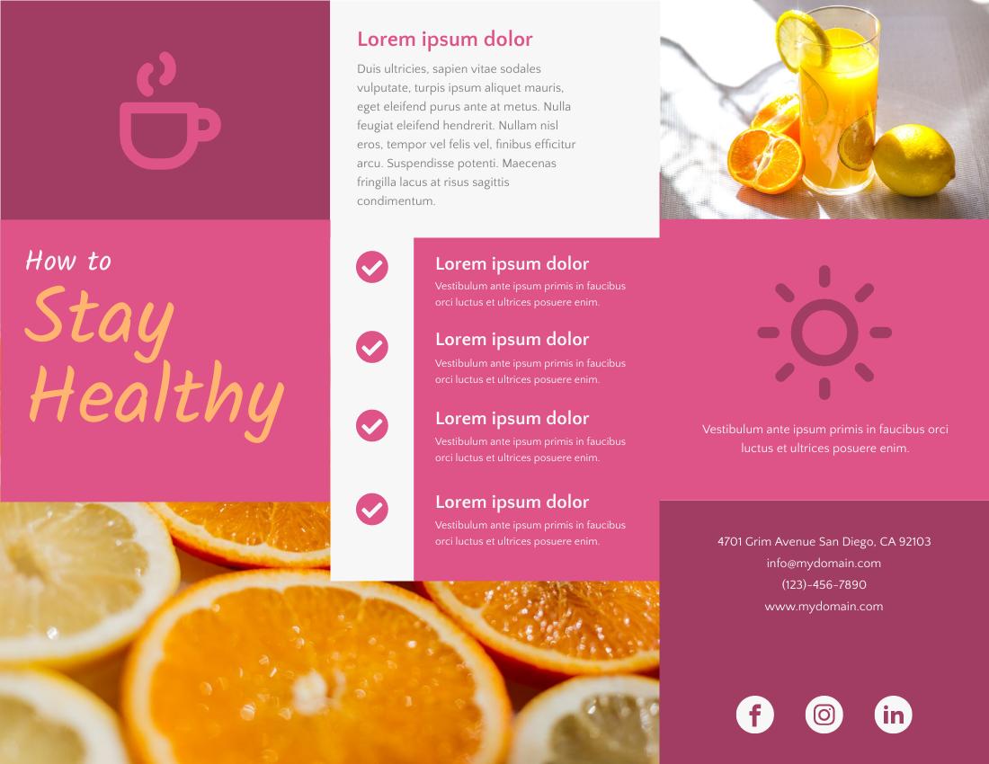 Brochure template: How To Stay Healthy Brochure (Created by InfoART's Brochure maker)