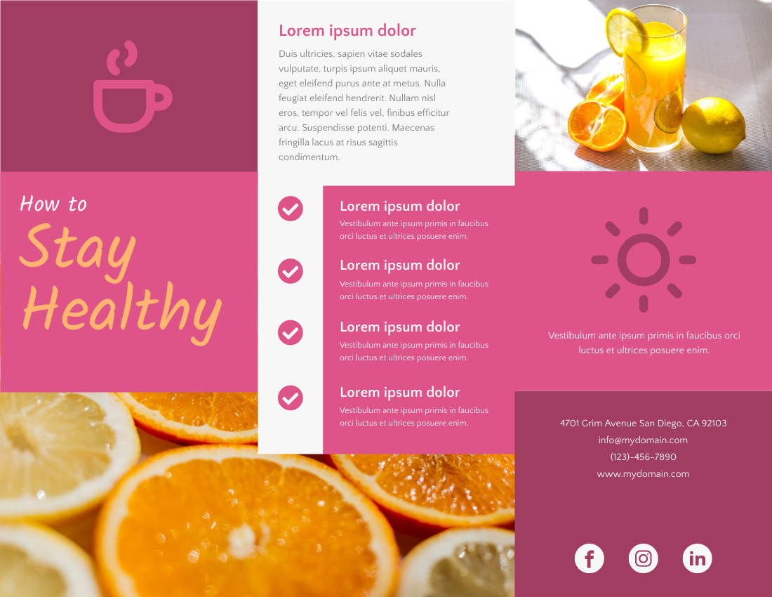 Brochure template: How to Stay Healthy (Created by InfoART's Brochure marker)