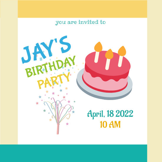Invitation template: Jay's Birthday Party (Created by InfoART's Invitation marker)