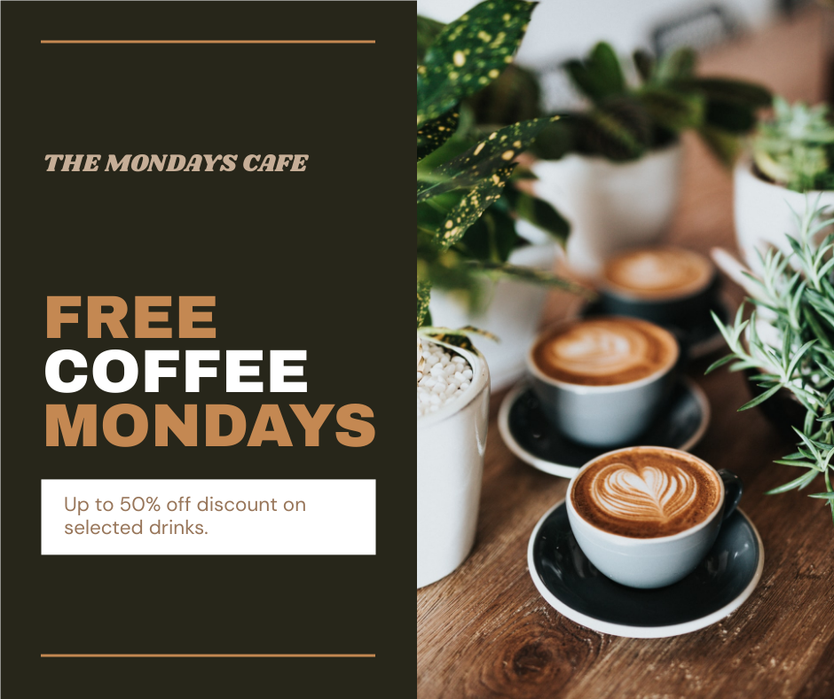 Facebook Post template: Free Coffee Mondays Cafe Facebook Post (Created by InfoART's Facebook Post maker)