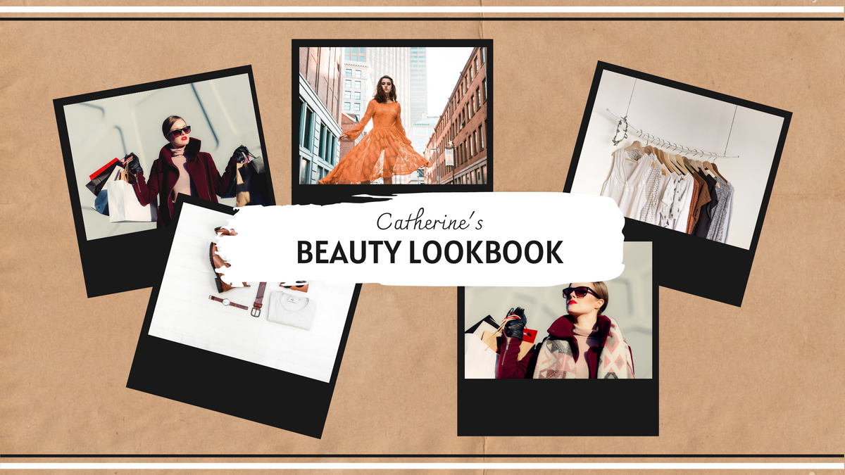 YouTube Channel Art template: Black And Brown Photo Collage Lookbook YouTube Channel Art (Created by InfoART's YouTube Channel Art maker)