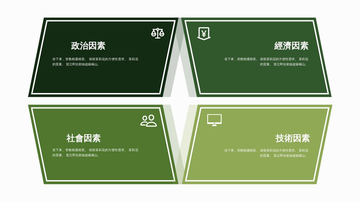 PEST 分析 template: 政經社技圖表模板10 (Created by InfoART's PEST 分析 maker)