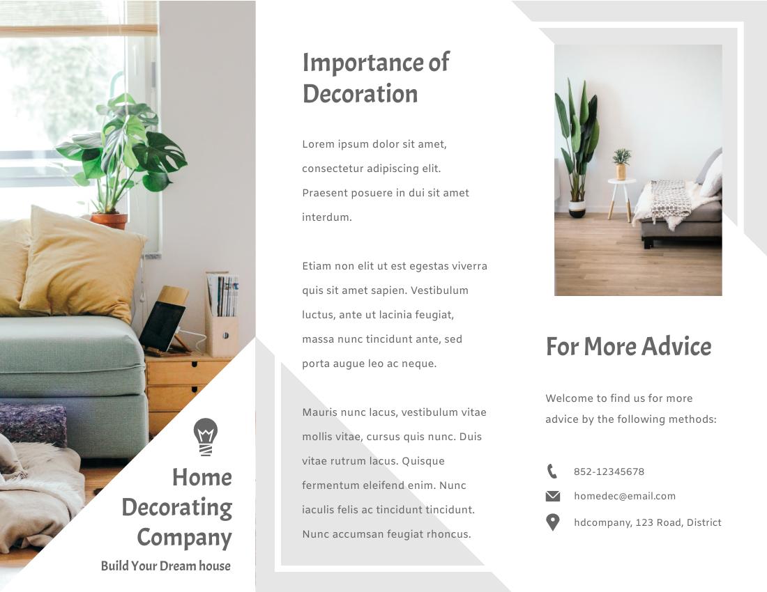 Brochure template: Home Decorating Brochure (Created by InfoART's Brochure marker)