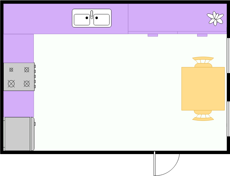 Kitchen Floor Plan template: Small Kitchen Layout (Created by Diagrams's Kitchen Floor Plan maker)