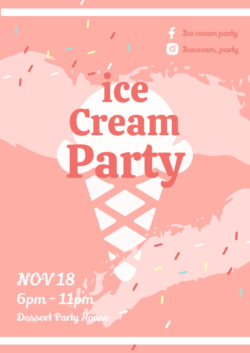Flyer template: Ice Cream Party (Created by InfoART's Flyer maker)