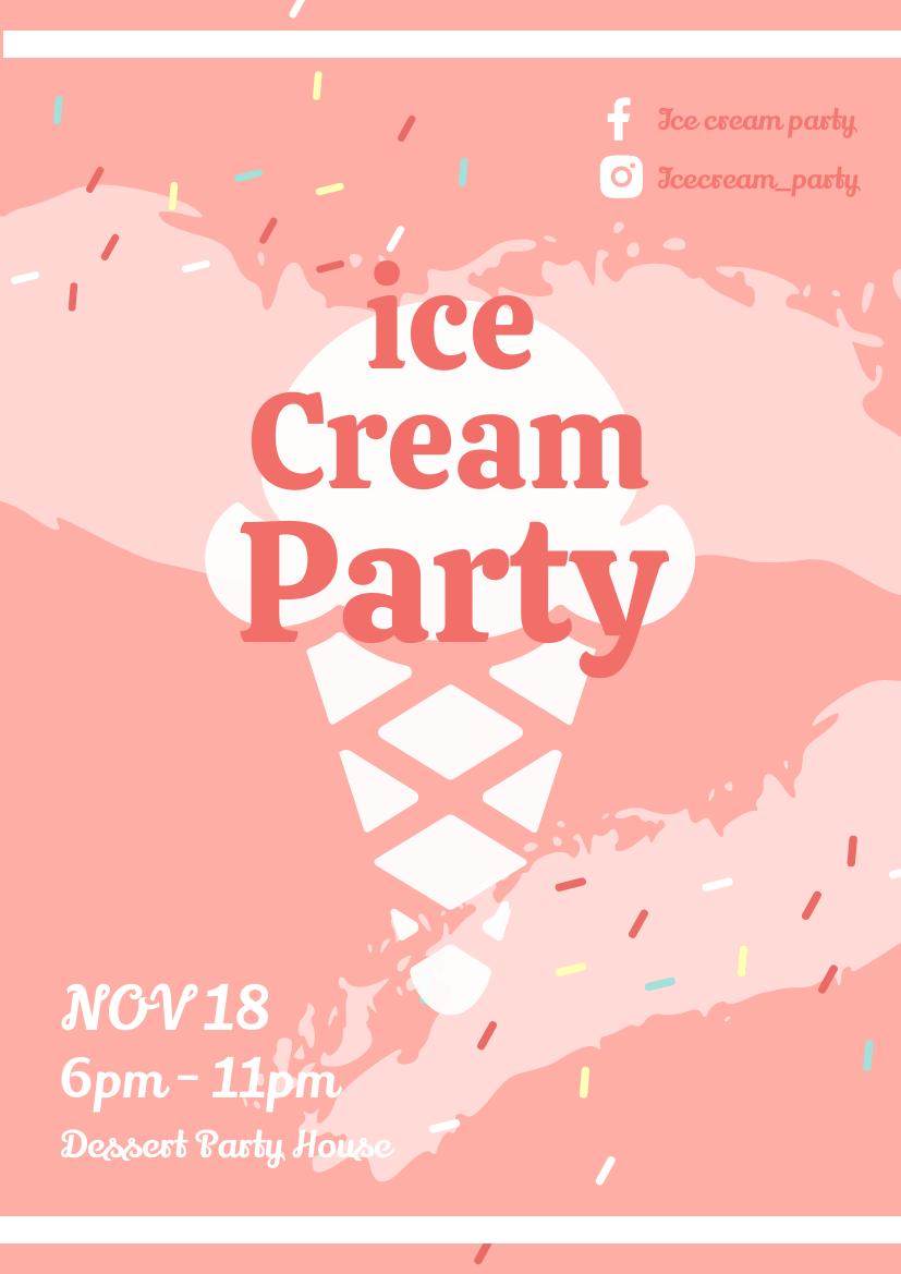 Flyer template: Ice Cream Party Flyer (Created by InfoART's Flyer maker)