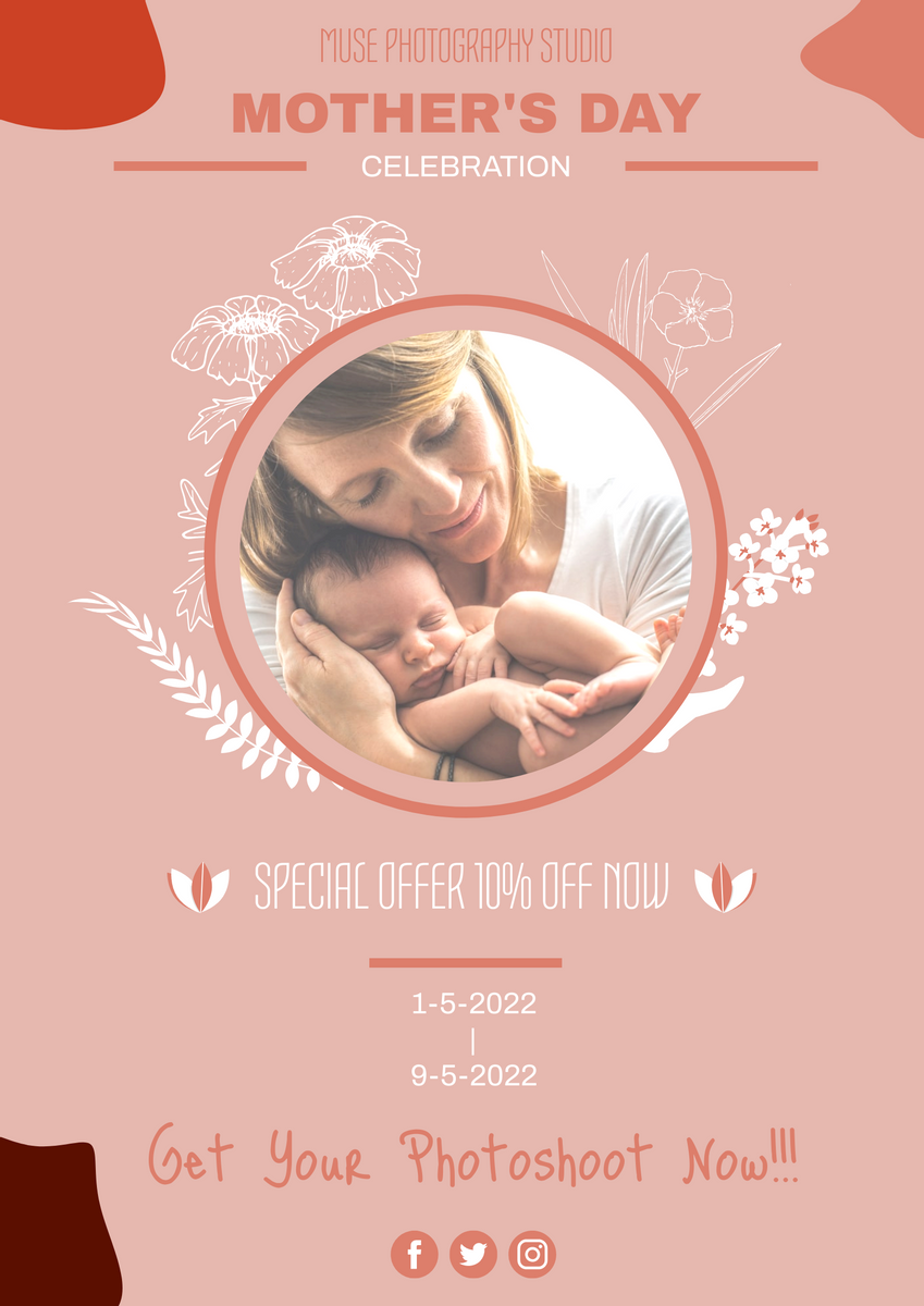 Poster template: Mother's Day Photography Poster (Created by InfoART's Poster maker)