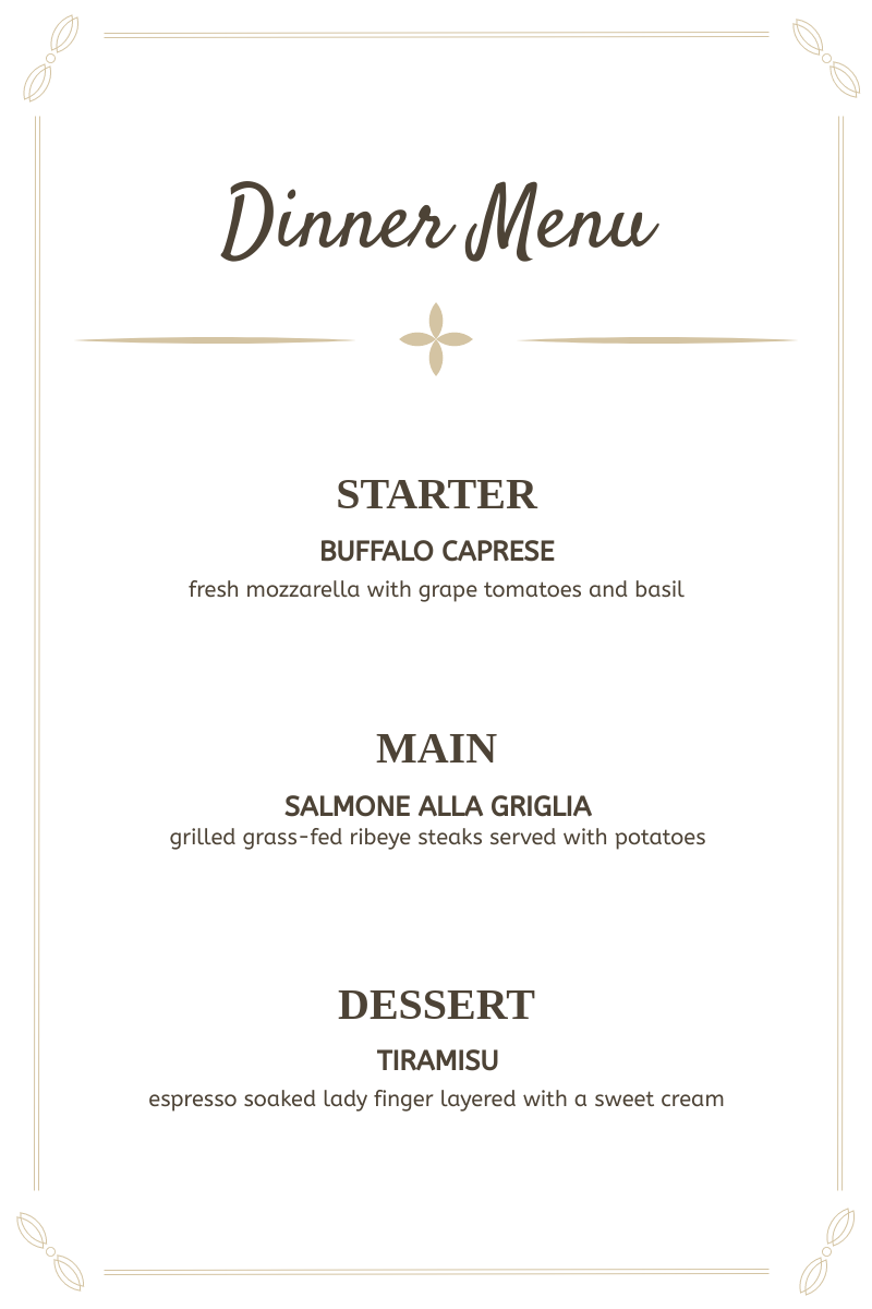 Menu template: Dinner Menu (Created by InfoART's Menu maker)